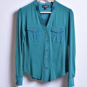 Bebe Teal Button Down Shirt, Sz XS